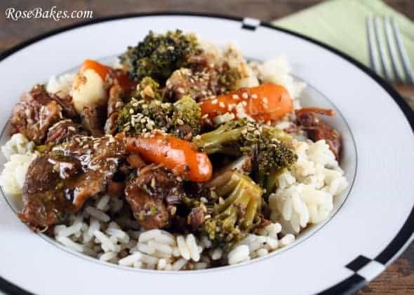 crock pot beef veggies over rice. Black Bedroom Furniture Sets. Home Design Ideas