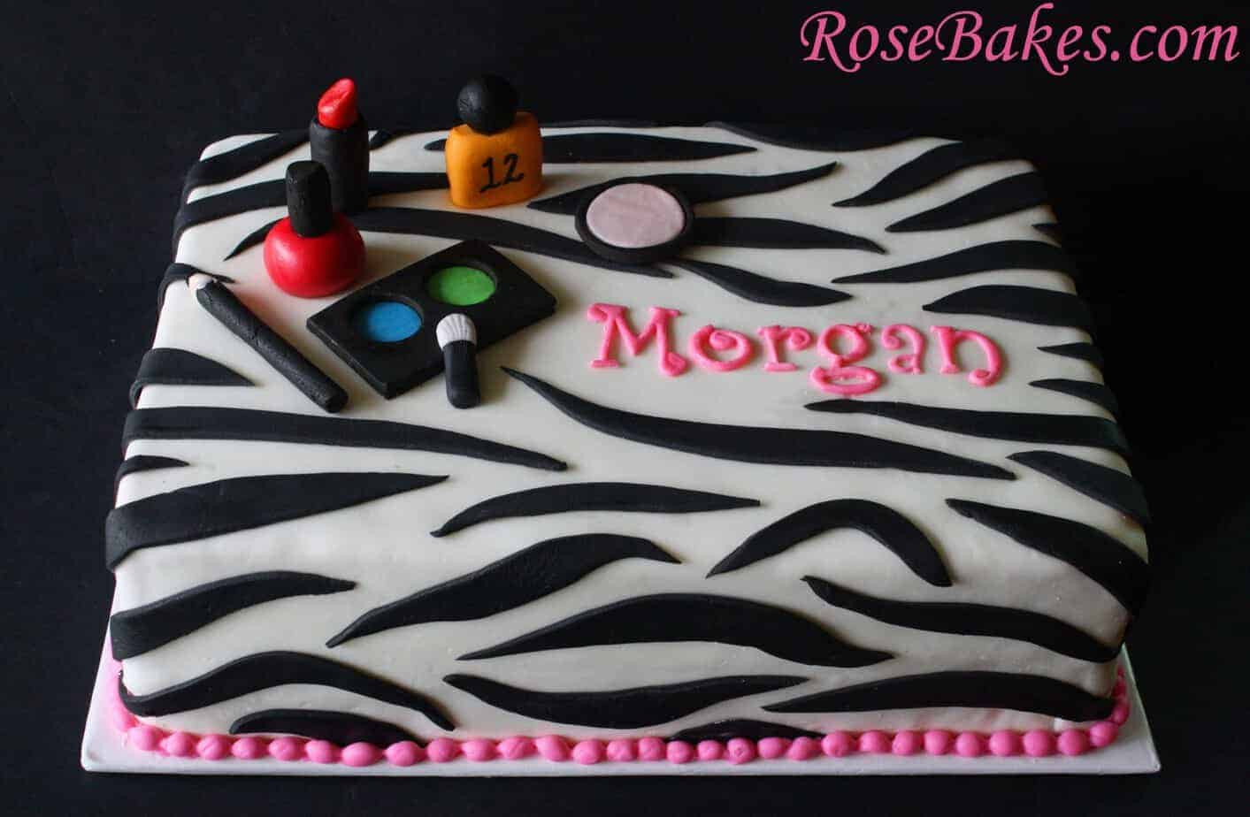 Zebra Stripes Sheet Cakes Birthdays Graduation With Hot Pink Make Up