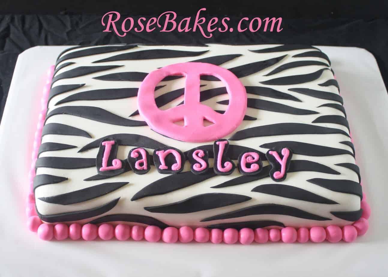 Awe Inspiring Zebra Stripes Sheet Cakes Birthdays Graduation With Hot Pink Birthday Cards Printable Nowaargucafe Filternl