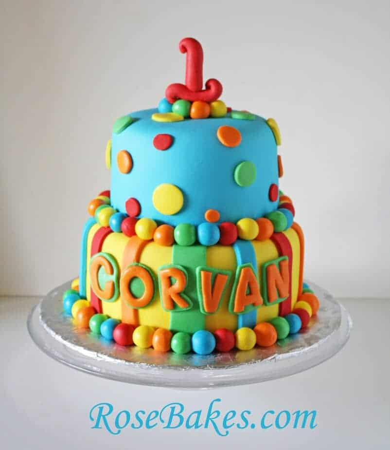 Bright Stripes Polka Dots 1st Birthday Cake