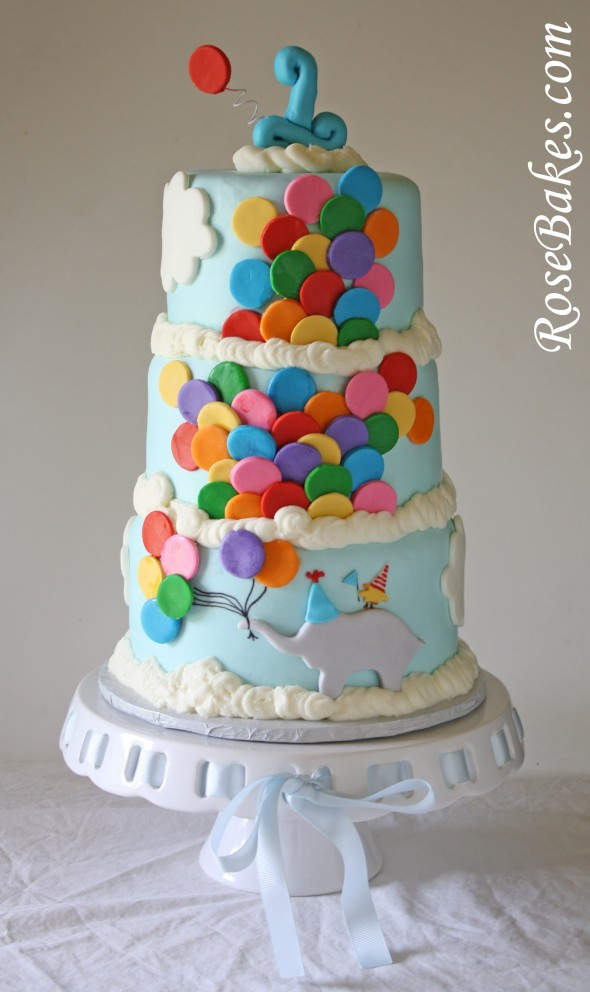 Bright Circus Cake With Lots Of Balloons And Circus Animal