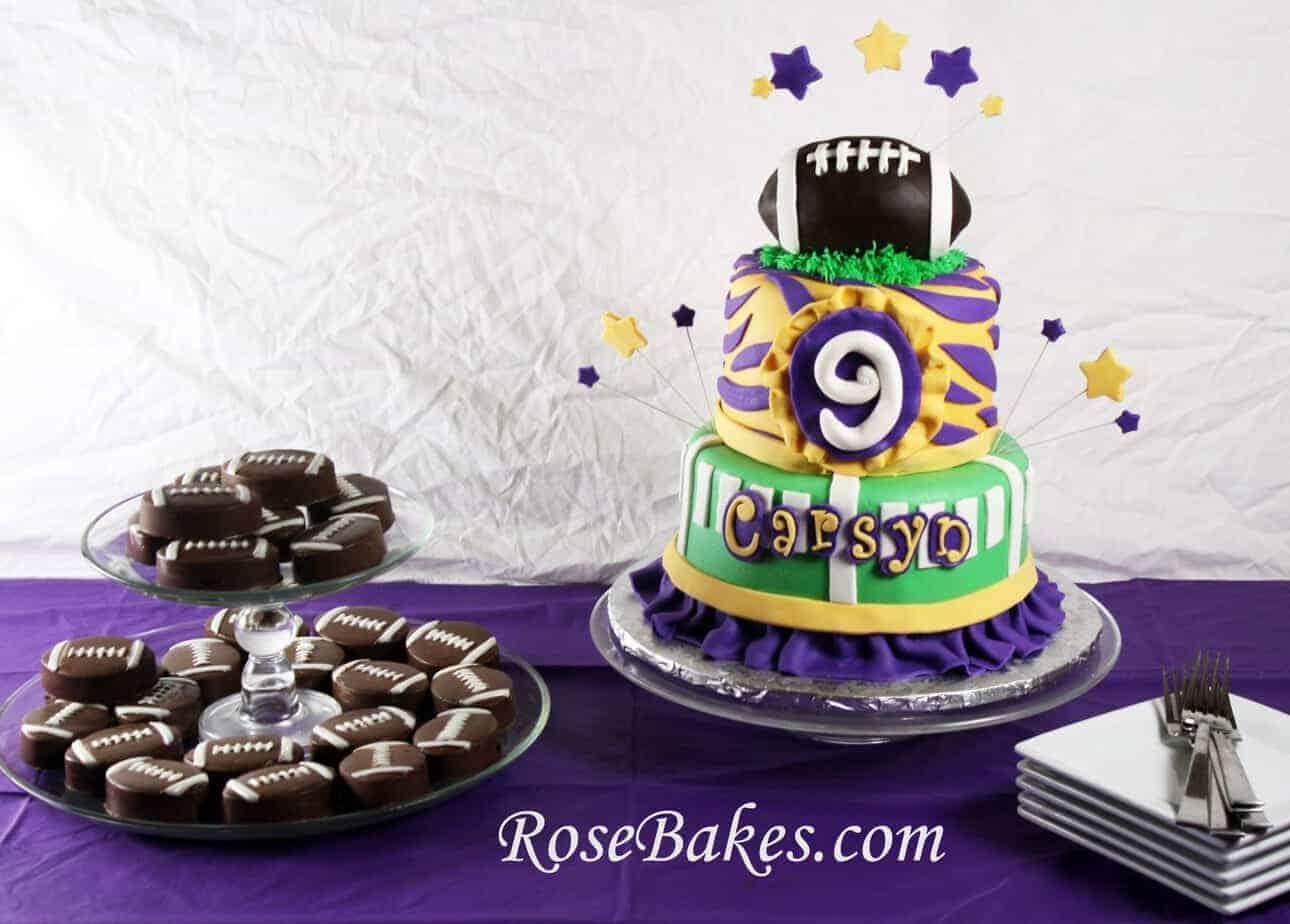 Tremendous Girly Lsu Football Birthday Cake Chocolate Covered Oreo Footballs Personalised Birthday Cards Veneteletsinfo