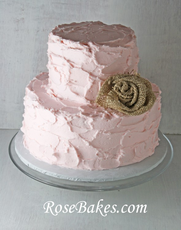 Pink Rustic Buttercream Cake with Burlap Rose