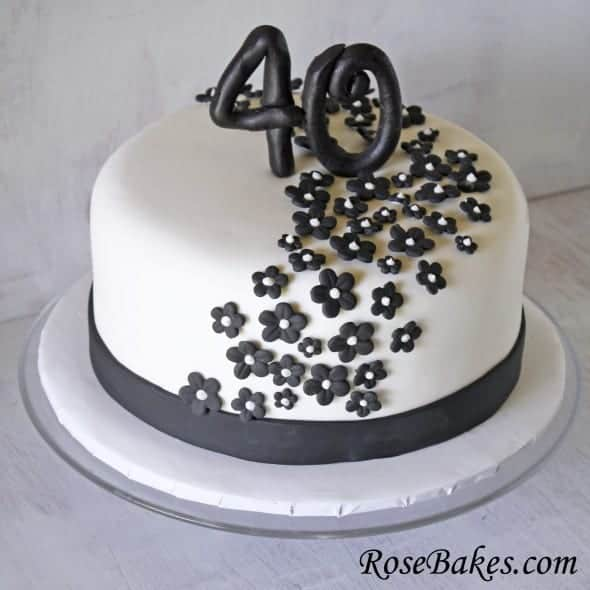 Black & White 40th Birthday Cake