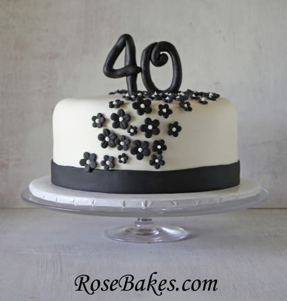 Black And Silver Th Birthday Cake One Tier