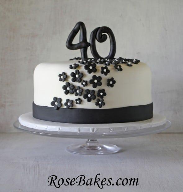 Black White 40th Birthday Cake