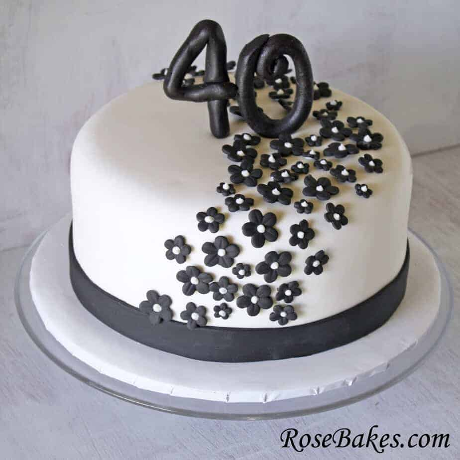 Black White 40th Birthday Cake