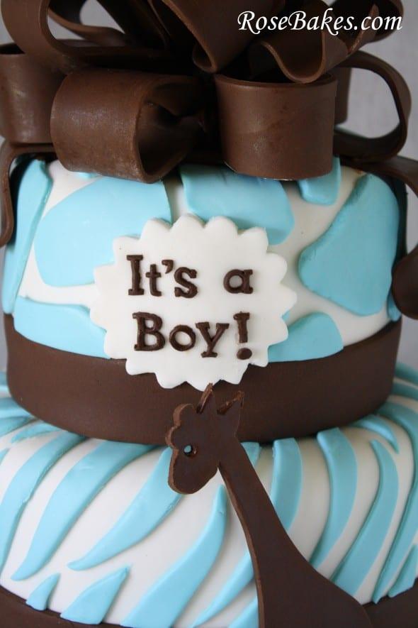 Brown Amp Blue Zoo Animals Baby Shower Cake