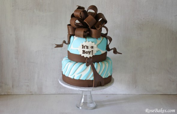 Brown Blue Zoo Animals Baby Shower Cake