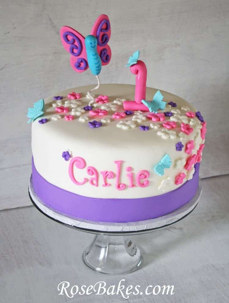 Flutterbies Butterflies 1st Birthday Cake Smash
