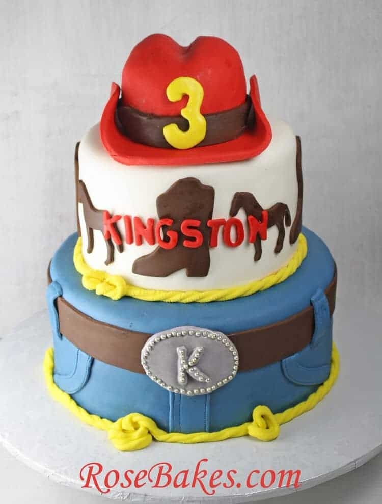 Astonishing Western Cowboy Birthday Cake With Red Hat Funny Birthday Cards Online Inifodamsfinfo