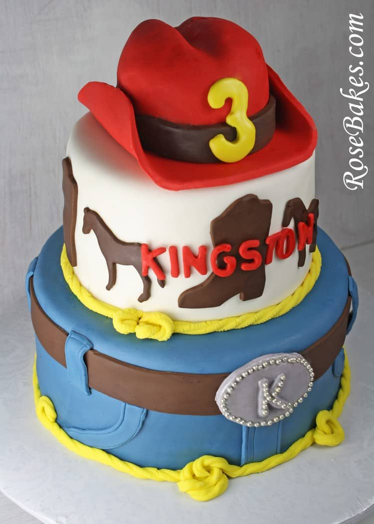 Cowboy Western Horse Cake With Red Hat Side Rose Bakes
