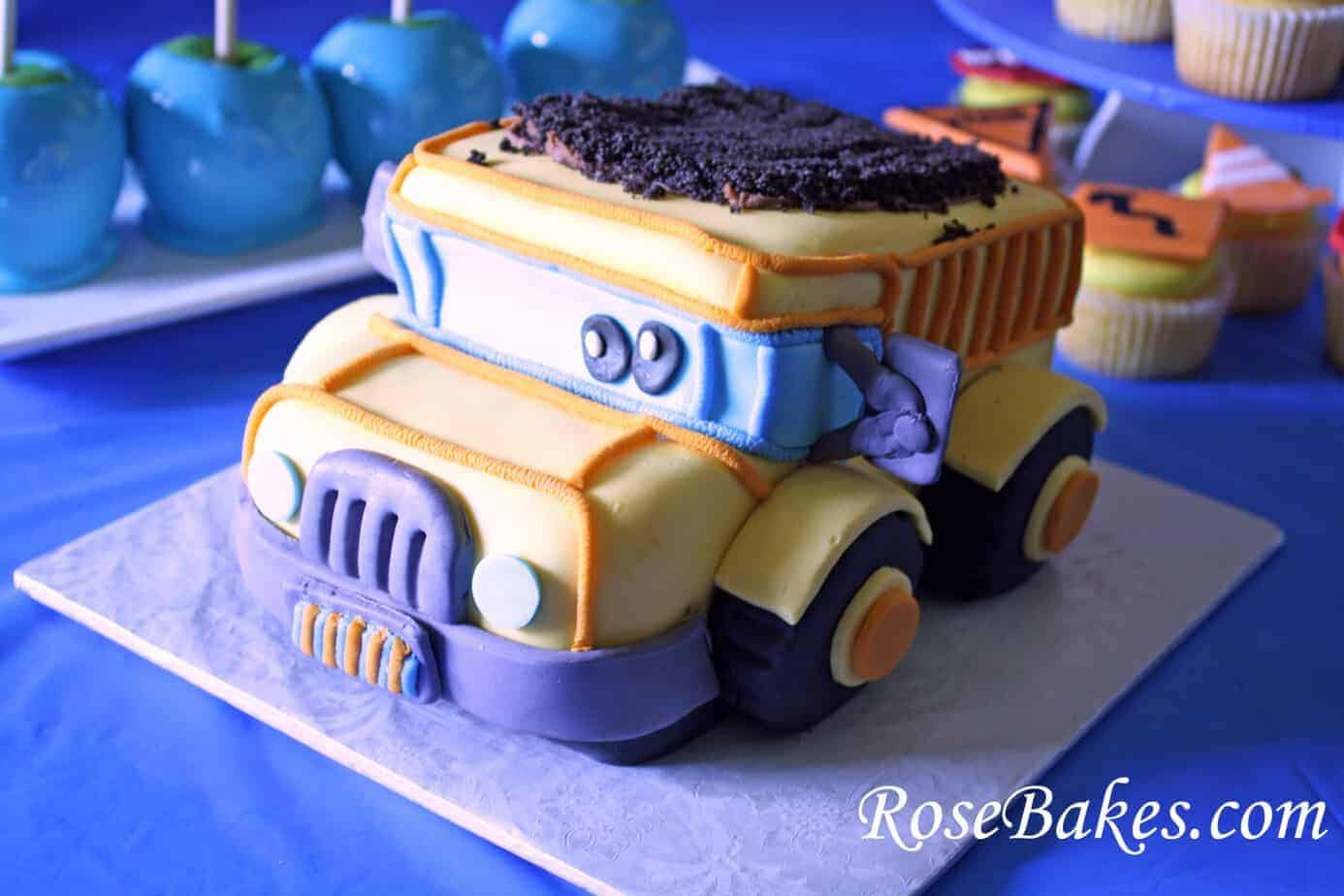 Astonishing How To Carve A 3 D Dump Truck Cake Or Smash Cake Funny Birthday Cards Online Elaedamsfinfo