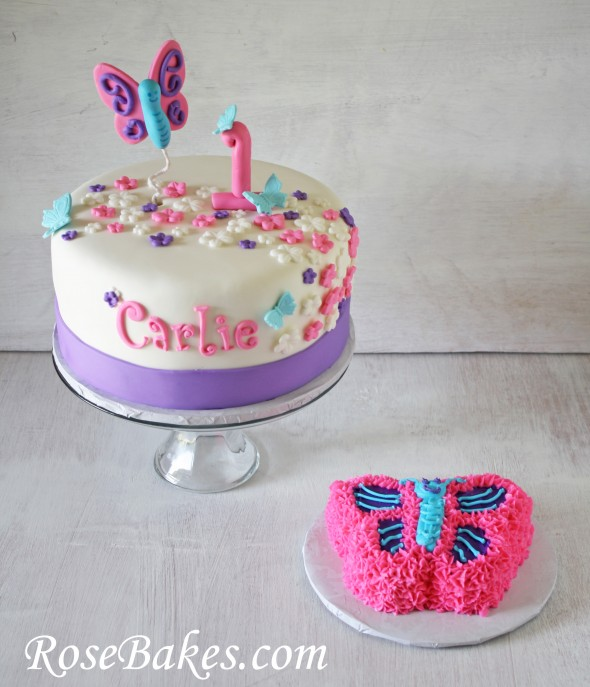 Flutterbies Butterflies St Birthday Cake  Smash - Small first birthday cakes