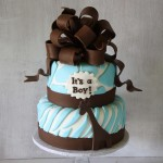 Giraffe Baby Shower Cake Brown Blue
