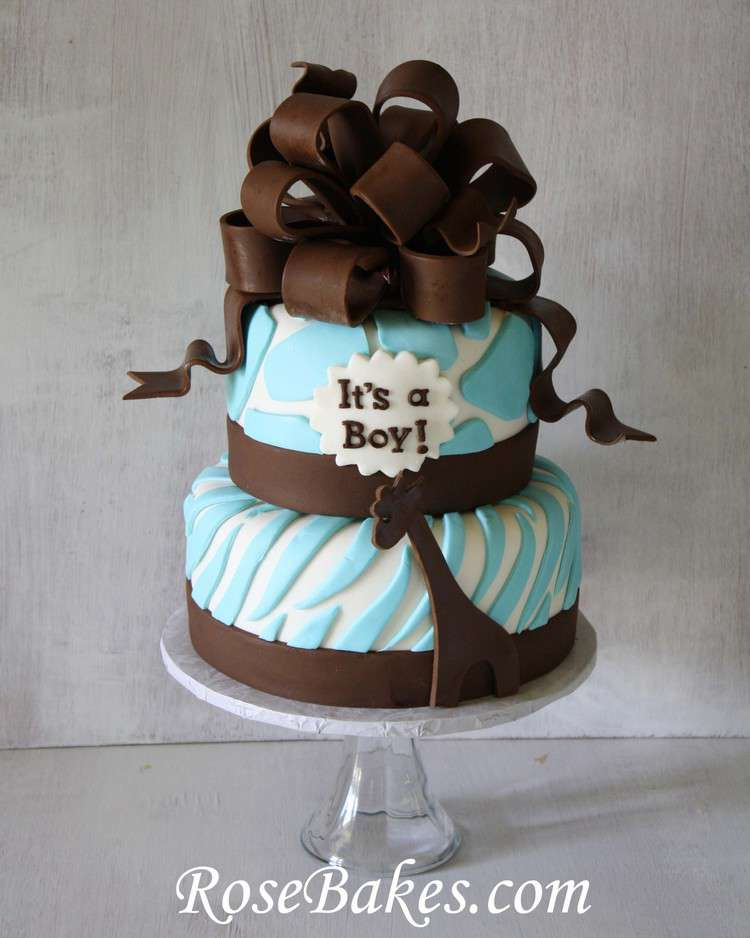 Brown & Blue Zoo Animals Baby Shower Cake