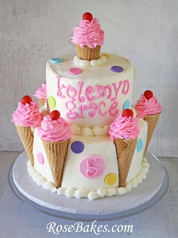Cone For Cake Decoration : Ice Cream Cones Birthday Cake