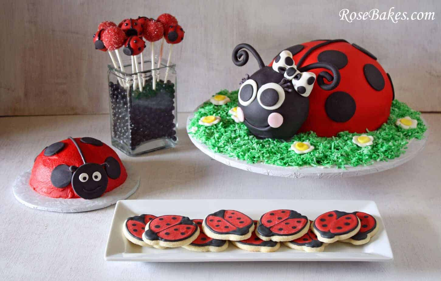 Ladybug Party Cake Cookies Cake Pops & Smash Cake