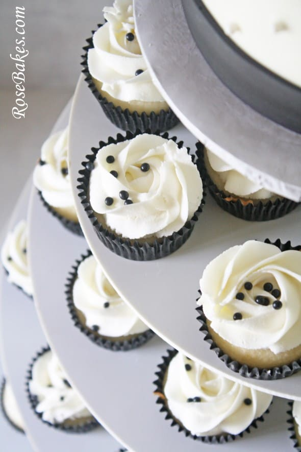 Black & White Wedding Cake and Cupcake Tower