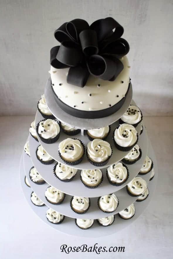 Black White Wedding Cake And Cupcake Tower