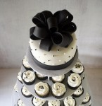 Black White Wedding Cake Cupcake Tower Above 2