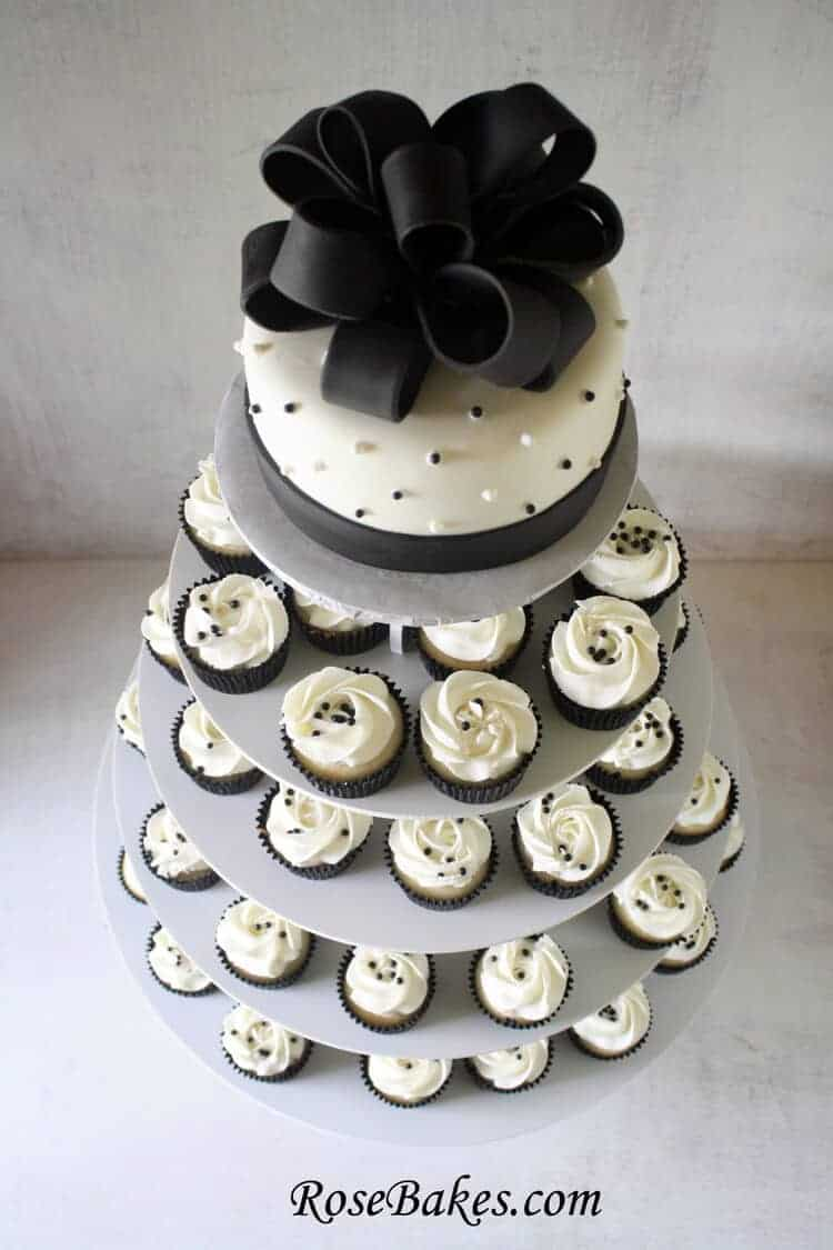 Black White Wedding Cake And Cupcake Tower