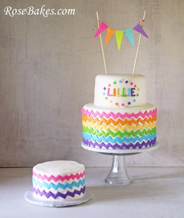 Striped Rainbow Fondant Cake
