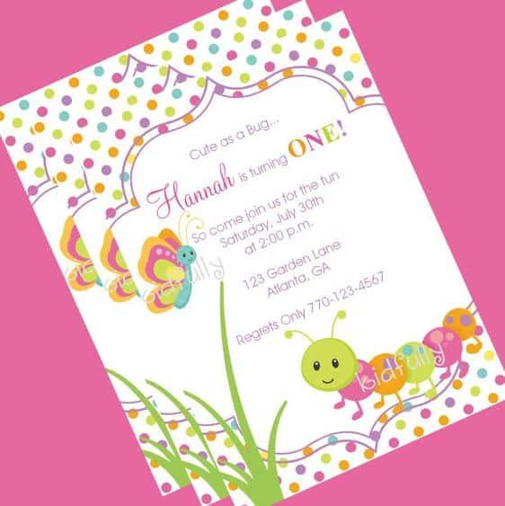 Cute Bugs Caterpillar Butterflies Birthday Cake and Cookies – Butterfly Birthday Party Invitations