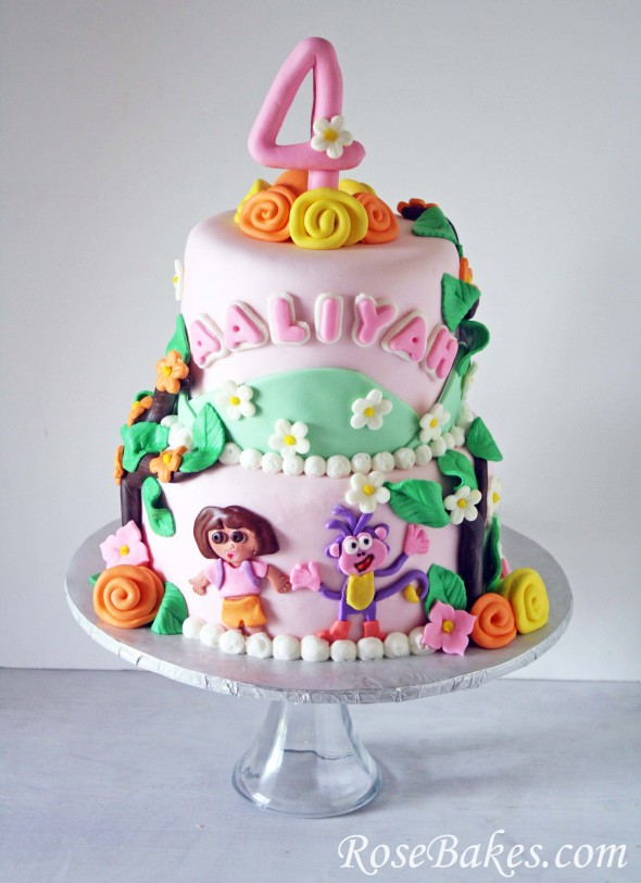 Terrific Dora The Explorer Birthday Cake Rose Bakes Funny Birthday Cards Online Alyptdamsfinfo