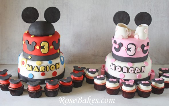Mickey Minnie Mouse Cakes Cupcakes Twins