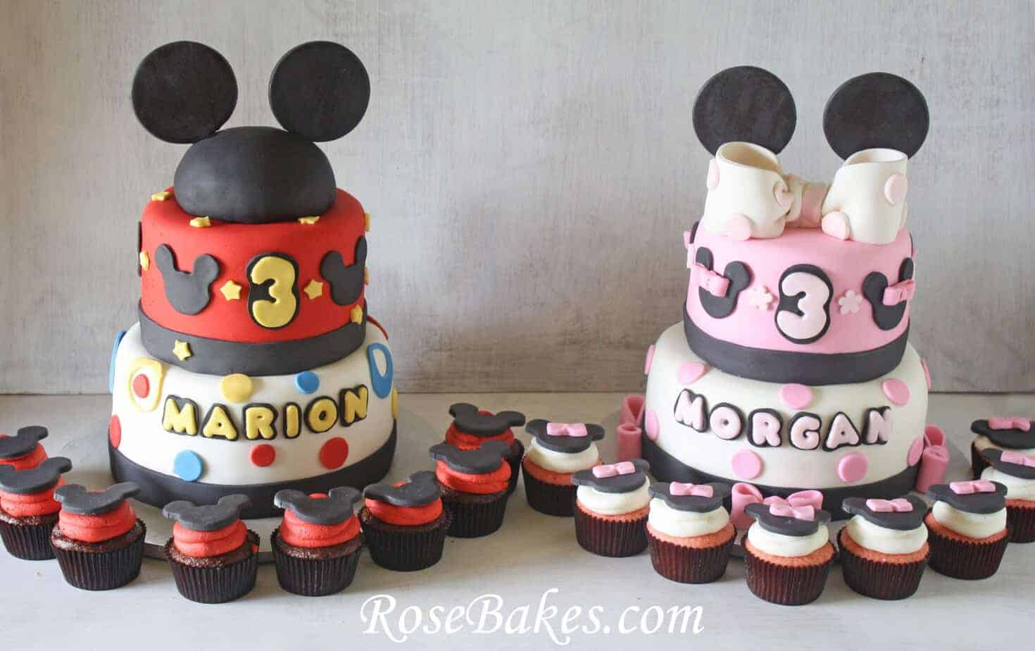 Mickey and Minnie Mouse Birthday Cakes & Cupcakes for Boy & Girl Twins