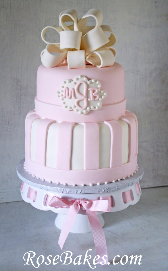 So I went with the pale pink and white color scheme. I made a fondant ...