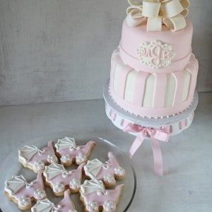 Pink White Monogram Baby Shower Cake with Cookies