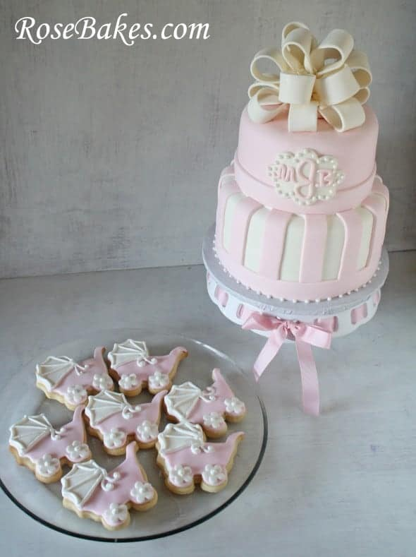 Pink Amp White Baby Shower Cake Amp Carriage Cookies