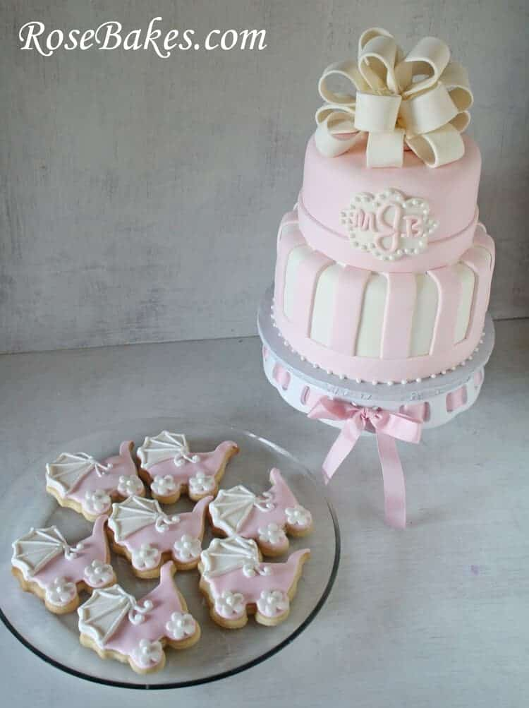 Pink & White Baby Shower Cake & Carriage Cookies