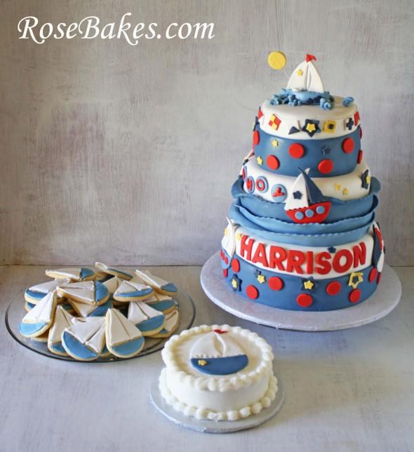 Sailboat 1st Birthday Party: Cake, Smash Cake & Cookies