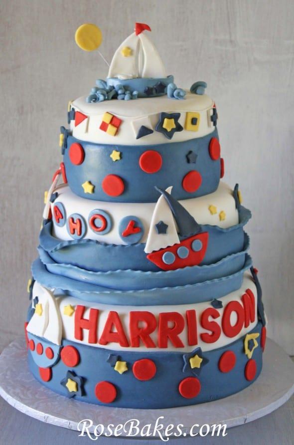 Sailboat Nautical Birthday Cake