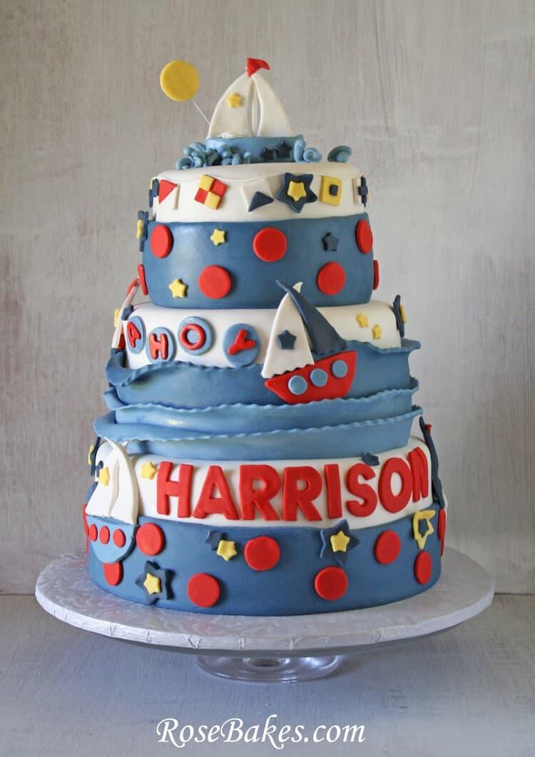 Phenomenal Sailboat 1St Birthday Party Cake Smash Cake Cookies Funny Birthday Cards Online Sheoxdamsfinfo