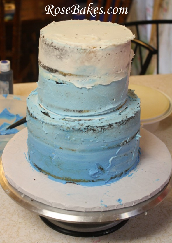 Blue Ombre Buttercream Roses Cake For Beach Wedding Small Cakes