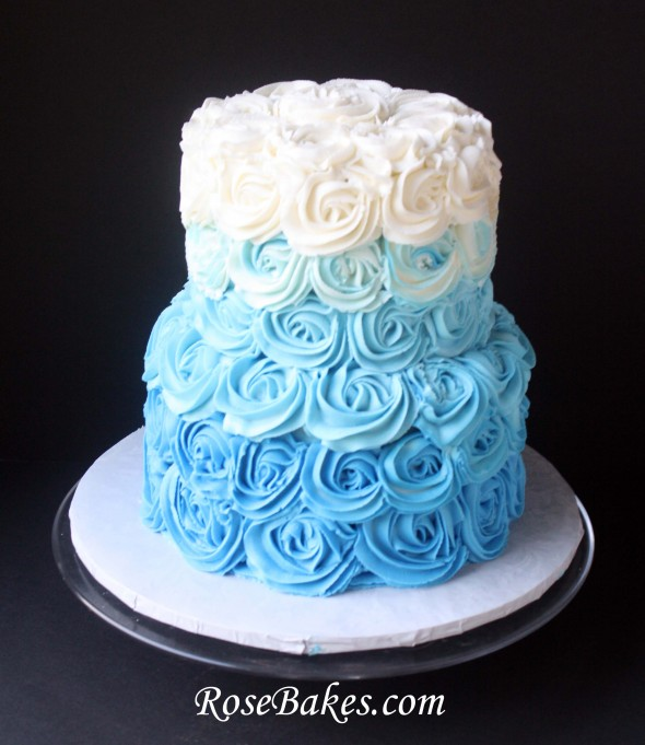 Blue Ombre Buttercream Roses Cake for Beach Wedding