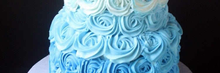 Blue Ombre Buttercream Roses Wedding Cake Small