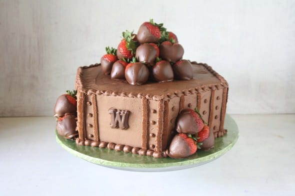 1 tier chocolate grooms cake with chocolate strawberries as topper  10+ Simple groom's cake ideas