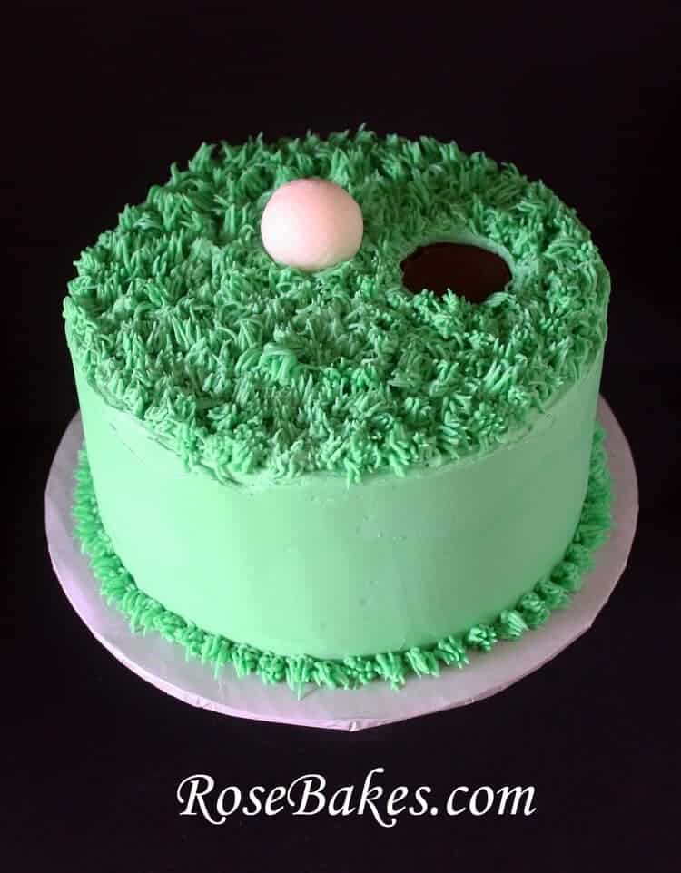 Cake Arch Balloon Design : Golf Ball on the Green Birthday Cake