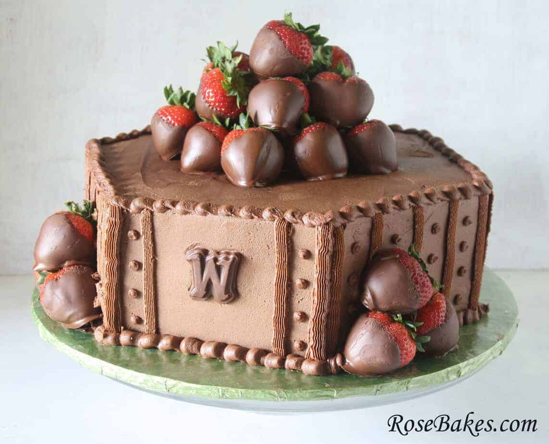 Chocolate Amp Strawberries Hexagon Groom S Cake
