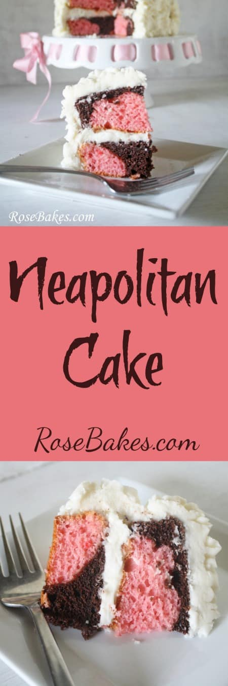 Neapolitan Cake  Chocolate & Strawberry Cake with Cream Cheese Frosting