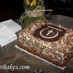 Red Velvet Grooms Cake with Pecans, Chocolate Rope, Cross