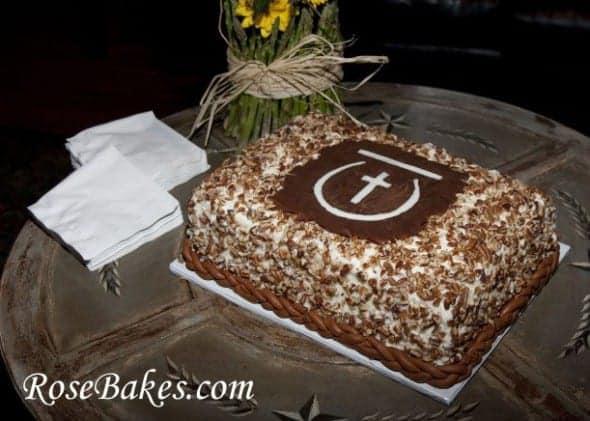 Red Velvet Groom's Cake With Pecans, Cross Horseshoe Brand