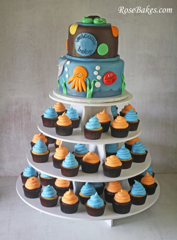 under the sea baby shower cake  cupcake tower, Baby shower invitation