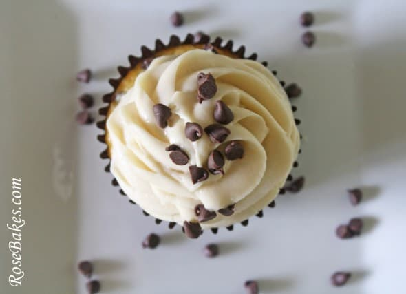 Chocolate Chip Cookie Dough Filled Cupcake top view