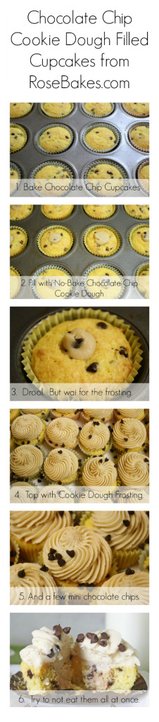 Chocolate Chip Cookie Dough Cupcakes Collage